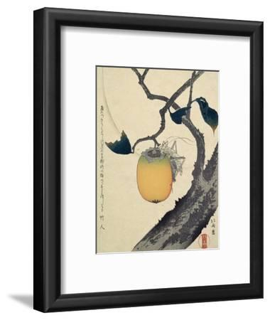 Moon, Persimmon and Grasshopper, 1807-Katsushika Hokusai-Framed Giclee Print