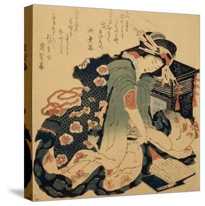 Reading, C1822-Katsushika Hokusai-Stretched Canvas Print