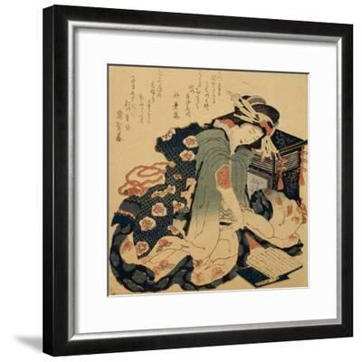 Reading, C1822-Katsushika Hokusai-Framed Giclee Print