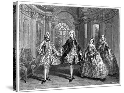 The Glorious Comedy of Destouches- Lancret-Stretched Canvas Print