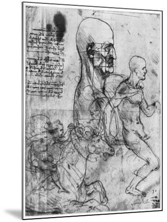 Profile of a Man's Head and Studies of Two Riders, C1490 and C1504-Leonardo da Vinci-Mounted Giclee Print