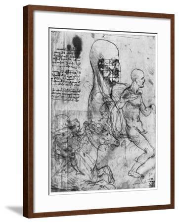 Profile of a Man's Head and Studies of Two Riders, C1490 and C1504-Leonardo da Vinci-Framed Giclee Print