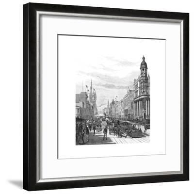 Collins Street Looking East, Melbourne, Victoria, Australia, 1886-JR Ashton-Framed Giclee Print