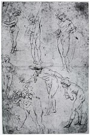 Studies for the Adoration of the Magi, 15th Century-Leonardo da Vinci-Framed Giclee Print