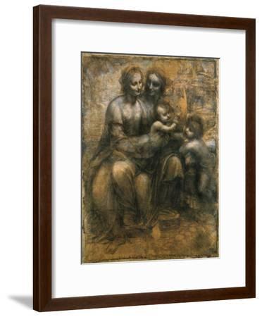 The Virgin and Child with Saint Anne and Saint John the Baptist, C1500-Leonardo da Vinci-Framed Giclee Print