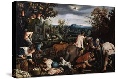 October' (From the Series 'The Seasons), Late 16th or Early 17th Century-Leandro Bassano-Stretched Canvas Print