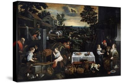 July (From the Series the Seasons), Late 16th or Early 17th Century-Leandro Bassano-Stretched Canvas Print