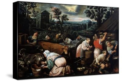 May (From the Series 'The Seasons), Late 16th or Early 17th Century-Leandro Bassano-Stretched Canvas Print