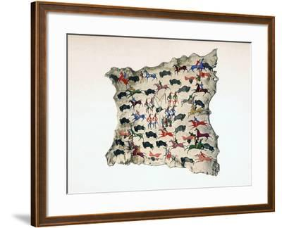 Moose Skin by North American Shoshone Indian, Showing Buffalo Hunt, 20th Century- Katsikodi-Framed Giclee Print