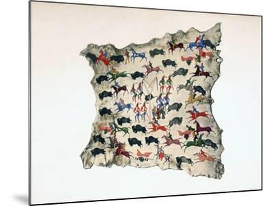 Moose Skin by North American Shoshone Indian, Showing Buffalo Hunt, 20th Century- Katsikodi-Mounted Giclee Print
