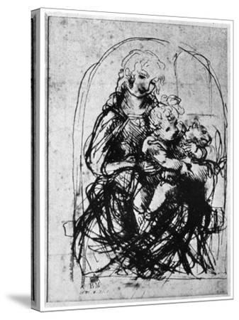 Studies for a Madonna Del Gatto, 15th Century-Leonardo da Vinci-Stretched Canvas Print