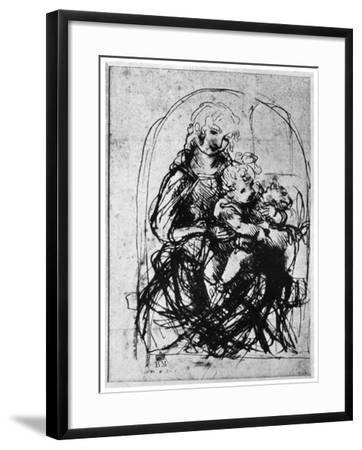 Studies for a Madonna Del Gatto, 15th Century-Leonardo da Vinci-Framed Giclee Print