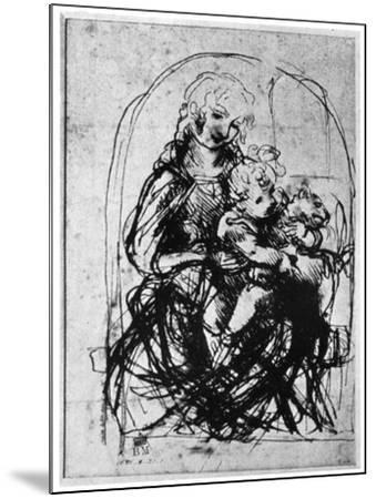 Studies for a Madonna Del Gatto, 15th Century-Leonardo da Vinci-Mounted Giclee Print