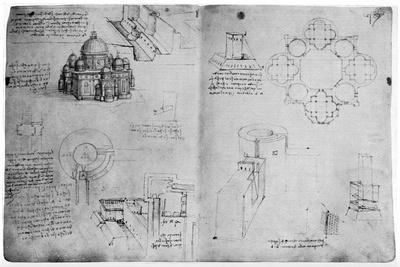 Designs for a Centralized Building, Late 15th or Early 16th Century-Leonardo da Vinci-Framed Giclee Print