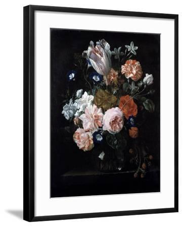 A Tulip, Carnations, and Morning Glory in a Glass Vase, 17th Century-Nicolaes van Veerendael-Framed Giclee Print