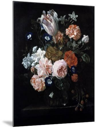 A Tulip, Carnations, and Morning Glory in a Glass Vase, 17th Century-Nicolaes van Veerendael-Mounted Giclee Print