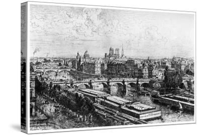 Paris Pris Du Louvre, C1850-1895-Maxime Lalanne-Stretched Canvas Print