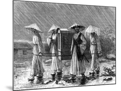 Palanquin Bearers in Rain Costume, Korea, 19th Century-Mario Azzopardi-Mounted Giclee Print