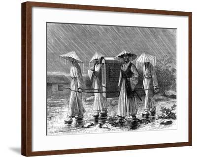 Palanquin Bearers in Rain Costume, Korea, 19th Century-Mario Azzopardi-Framed Giclee Print