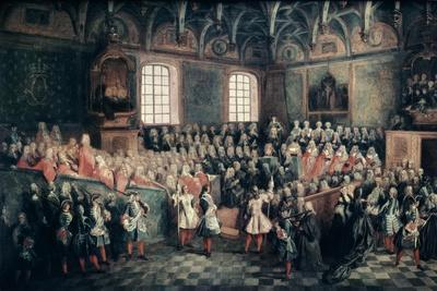 The Seat of Justice in the Parlement of Paris, 1723-Nicolas Lancret-Framed Giclee Print