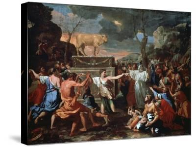 The Adoration of the Golden Calf, C1635-Nicolas Poussin-Stretched Canvas Print