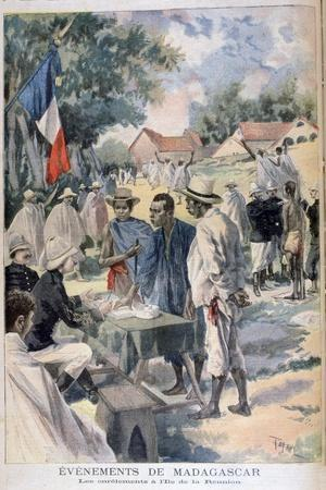 Enlisting Natives on the Island of La Reunion, 1895-Oswaldo Tofani-Stretched Canvas Print