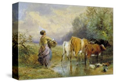 A Girl Driving Cattle across a Stream, 19th Century-Myles Birket Foster-Stretched Canvas Print