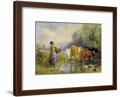 A Girl Driving Cattle across a Stream, 19th Century-Myles Birket Foster-Framed Giclee Print