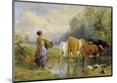 A Girl Driving Cattle across a Stream, 19th Century-Myles Birket Foster-Mounted Giclee Print