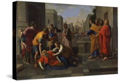 The Death of Sapphira, 1654-1656-Nicolas Poussin-Stretched Canvas Print