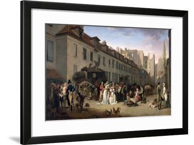 The Arrival of a Stagecoach at the Terminus, Rue Notre-Dame-Des-Victoires, Paris, 1803-Louis Leopold Boilly-Framed Giclee Print