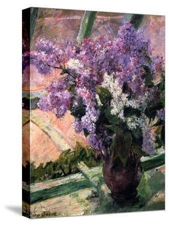 Lilacs in a Window, C1880-Mary Cassatt-Stretched Canvas Print