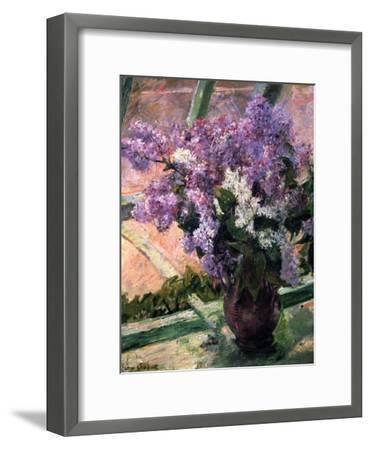 Lilacs in a Window, C1880-Mary Cassatt-Framed Giclee Print