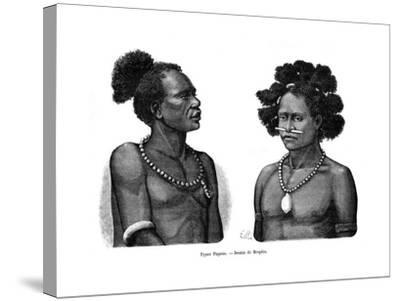 Papuan Types, 19th Century- Mesples-Stretched Canvas Print