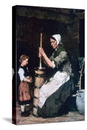 Woman at the Churn, C1864-1900-Mihaly Munkacsy-Stretched Canvas Print