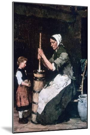 Woman at the Churn, C1864-1900-Mihaly Munkacsy-Mounted Giclee Print