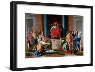 The Judgement of Solomon, 1649-Nicolas Poussin-Framed Giclee Print
