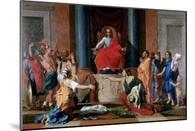 The Judgement of Solomon, 1649-Nicolas Poussin-Mounted Giclee Print
