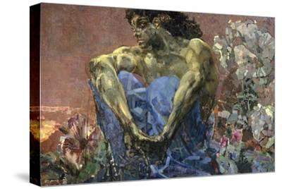 Demon Seated in a Garden, 1890-Mikhail Vrubel-Stretched Canvas Print