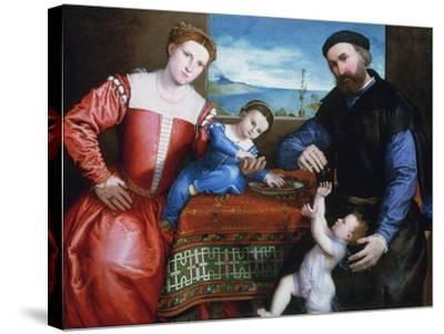 Giovanni Della Volta with His Wife and Children, C1547-Lorenzo Lotto-Stretched Canvas Print
