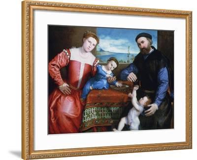 Giovanni Della Volta with His Wife and Children, C1547-Lorenzo Lotto-Framed Giclee Print