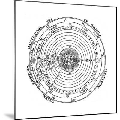 Diagram Showing Geocentric System of Universe, 1539-Petrus Apianus-Mounted Giclee Print