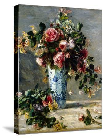 Roses and Jasmine in a Delft Vase, 1880-1881-Pierre-Auguste Renoir-Stretched Canvas Print