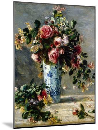 Roses and Jasmine in a Delft Vase, 1880-1881-Pierre-Auguste Renoir-Mounted Giclee Print