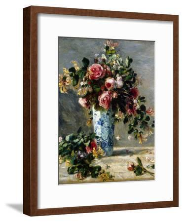 Roses and Jasmine in a Delft Vase, 1880-1881-Pierre-Auguste Renoir-Framed Giclee Print