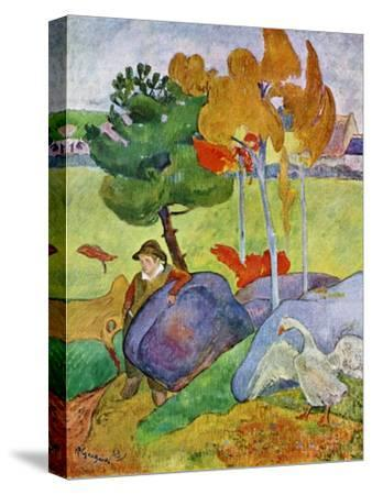 Little Breton Boy with a Goose, 1889-Paul Gauguin-Stretched Canvas Print