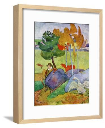Little Breton Boy with a Goose, 1889-Paul Gauguin-Framed Giclee Print