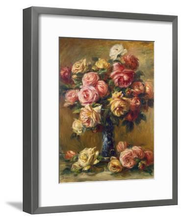 Roses in a Vase, C1910-Pierre-Auguste Renoir-Framed Premium Giclee Print
