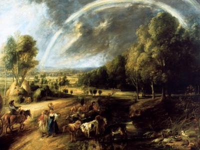 Landscape with a Rainbow, C1630-Peter Paul Rubens-Framed Giclee Print