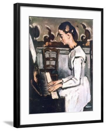 Girl at the Piano, the Overture to Tannhauser, Detail, 1868-Paul C?zanne-Framed Giclee Print